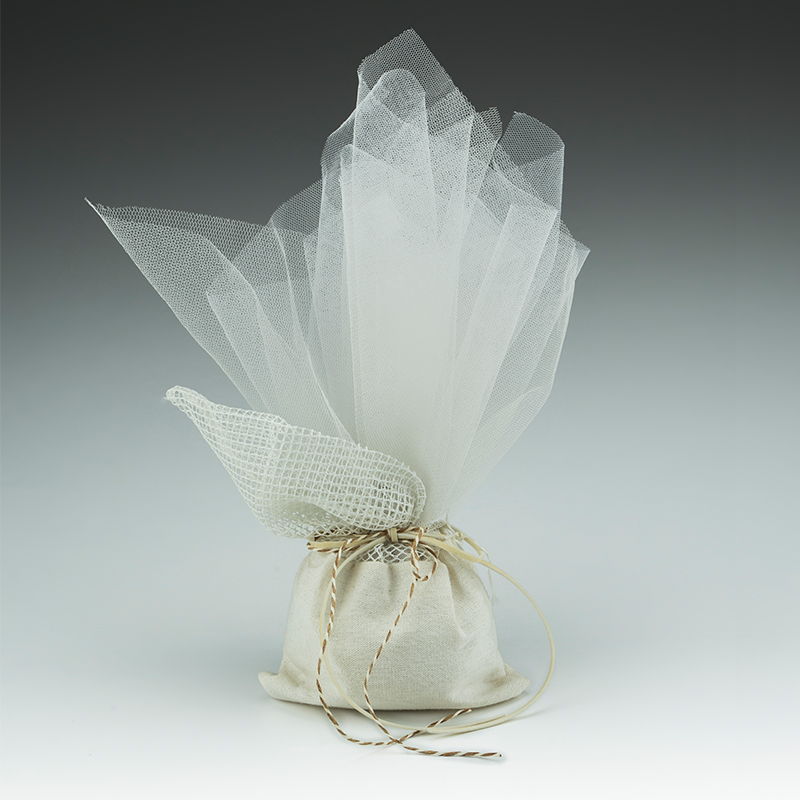 9dc0bddd8dc Μπομπονιέρα γάμου πουγκί το κάτω μέρος από λινό ύφασμα ιβουάρ, το επάνω  μέρος ...