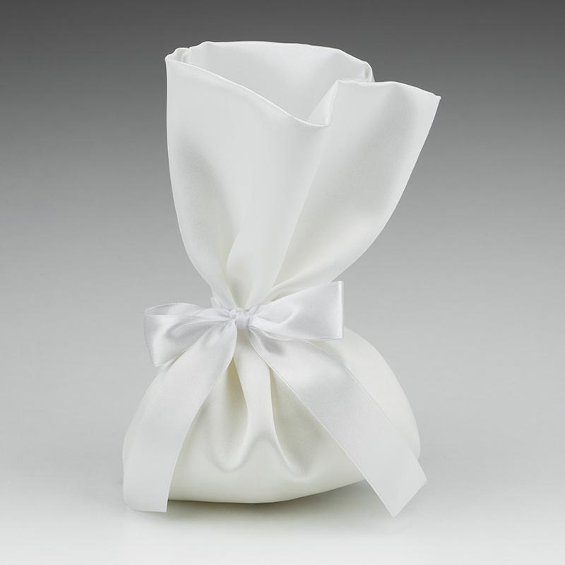0da4d18b77db Μπομπονιέρα γάμου πουγκί σατέν λευκό και κορδέλα σατέν λευκή